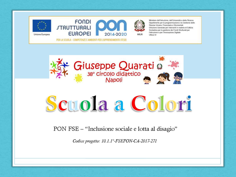 """Sez. Amministrativa-PON FSE - Prot. 10862-""""Titolo """"Scuola a colori"""" -"""